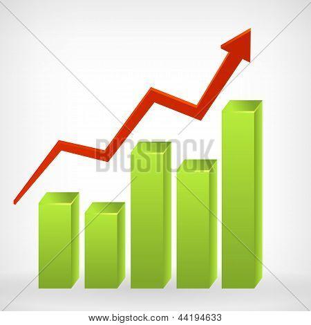 Bar Shiny 3D Graph Positive Arrow