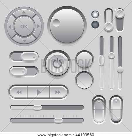 Gray Web UI Elements Design.