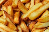 Freshly cooked chips (French fries) Calypso Costa del Sol Malaga Province Andalucia Spain Western Europe. poster