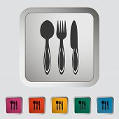 Spoon fork knife. Single icon. Vector illustration. poster