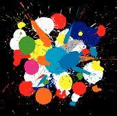 Illustration of color paint splashes on black background poster