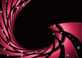 Abstract swirl red with star on dark background poster