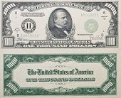 Both sides of a real antique Thousand Dollar Bill from 1934 no longer in circulation shows grover cleveland on front. poster