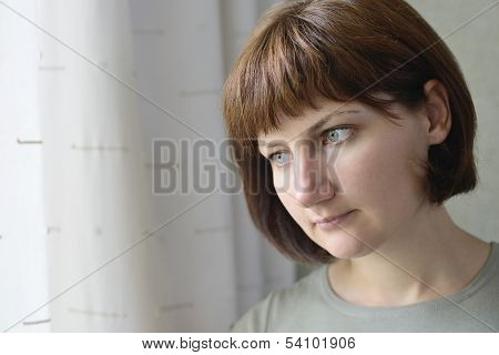 Serious Thoughtful Young Woman