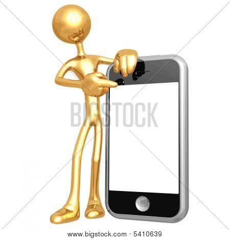 3D Character With Cellphone