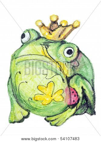 Monster Frog With Clover Tattoo