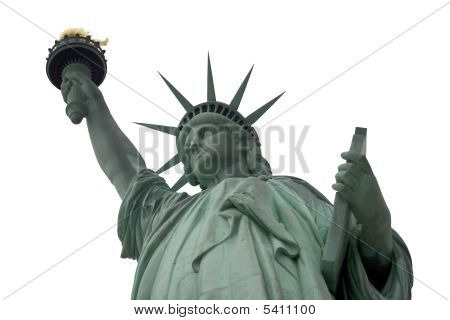 White Sky Statue Of Liberty