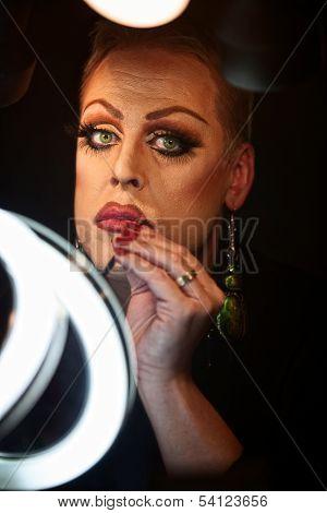 Drag Queen Using Lipstick