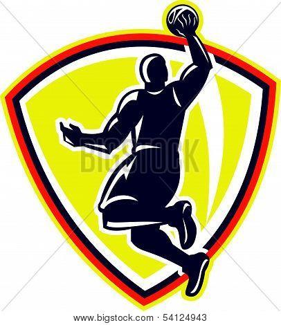 Basketballer Dunking Rebounding Ball Retro
