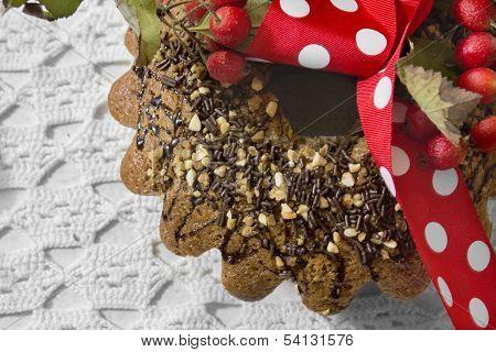 Traditional Christmas Cake With Almonds And Chocolate