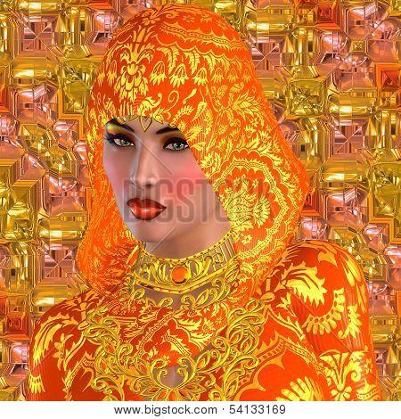 Beautiful face in orange.
