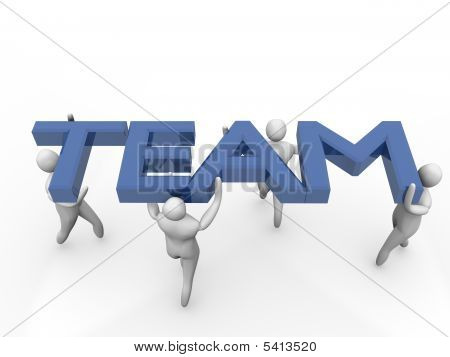 Group Of 3D Men Acting As Team