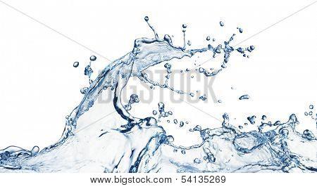 blue water splash isolated on white background