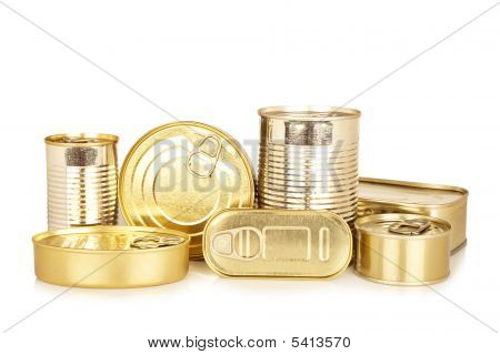 Assortment Of Golden Food Tin Can