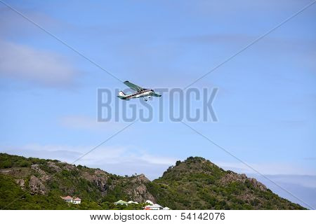 Small plane taking off St Barts airport