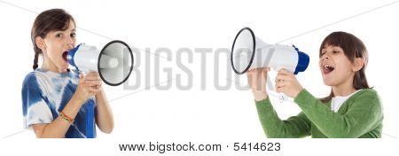 Two Girls With Megaphone