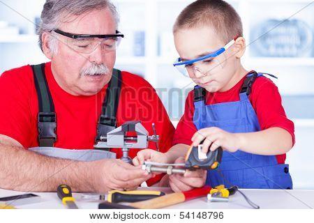 Grandfather And Grandchild Measuring Bolt