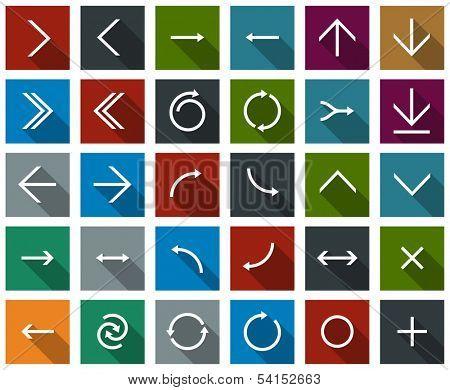 Vector illustration of plain square arrow icons. Flat design.