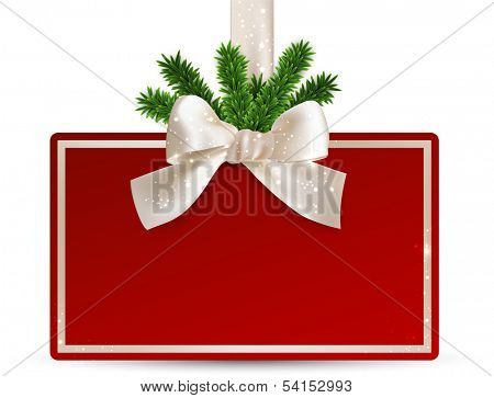 Christmas red card with white ribbon and satin bow. Vector illustration.