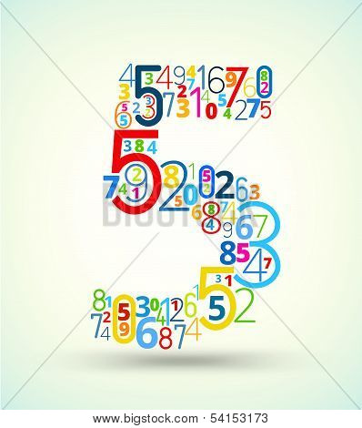 Number 5, colored vector font from numbers