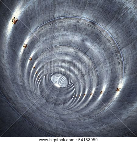 3d image of concrete tunnel with lights