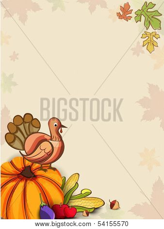 Happy Thanksgiving Day background with vegetables, fruits and turkey bird on autumn leaves background, can be use as flyer, banner or poster.