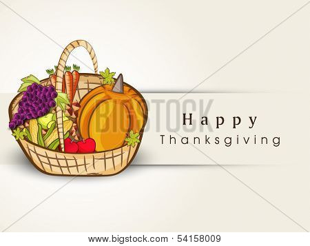 Happy Thanksgiving Day concept with wooden basket with full of fruits and vegetables, can be use as flyer, banner or poster.