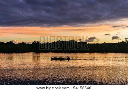 Canoe at sunset