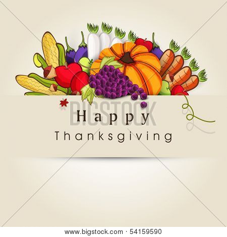 Happy Thanksgiving Day background with vegetables, fruits and autumn leaves on brown background, can be use as flyer, banner or poster.