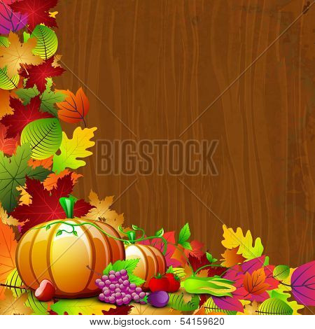 Happy Thanksgiving Day background with pumpkin and colorful autumn leaves on wooden background, can be use as flyer, banner or poster.