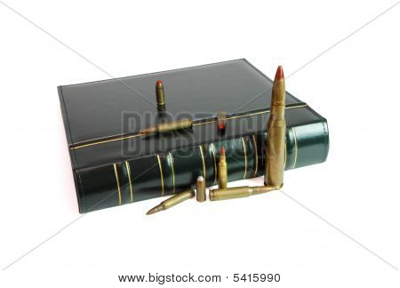Book And Pile Of Cartridges Isolated