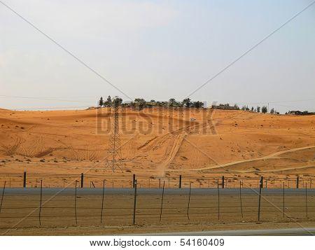 Road trough the desert Riyadh-Makkah (Mecca) highway in Saudi Arabia