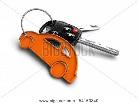 Car keys with icon key ring