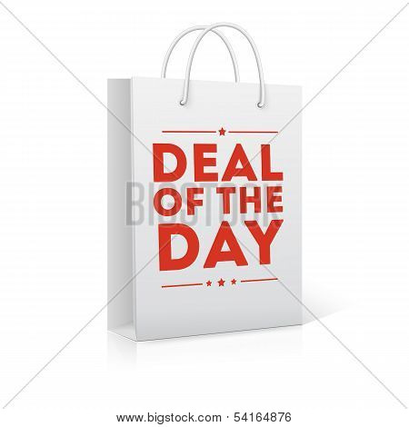 Deal of the day, shopping bag, vector illustration poster