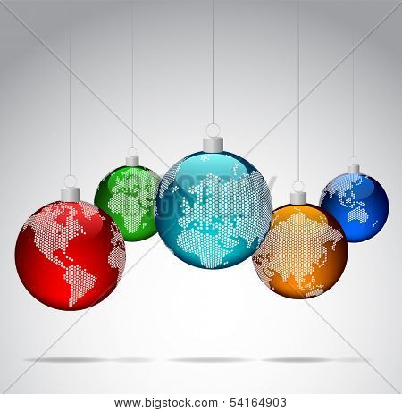 Christmas balls with world dotted maps - Vector eps10
