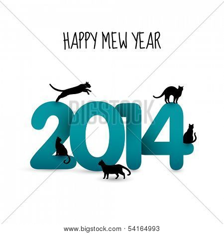 Happy mew year, 2014 and cats, eps10 vector