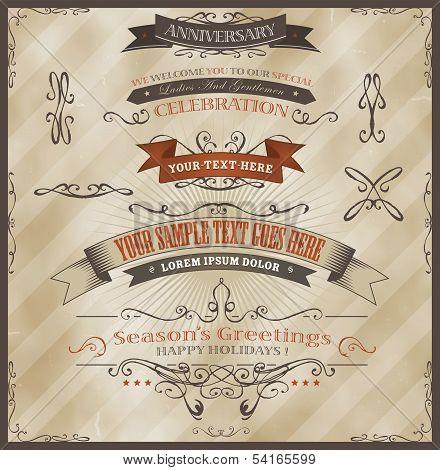 Vintage Invitation And Season's Greetings