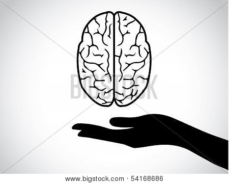 Hand Silhouettes Protecting A Human Brain Or Mind - Mental Health Services Icon Or Symbol Concept