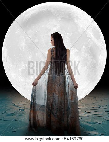 Ice princess walking into the moon poster