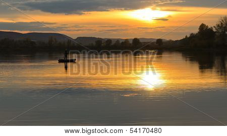 Sunset On The Lake In Summer