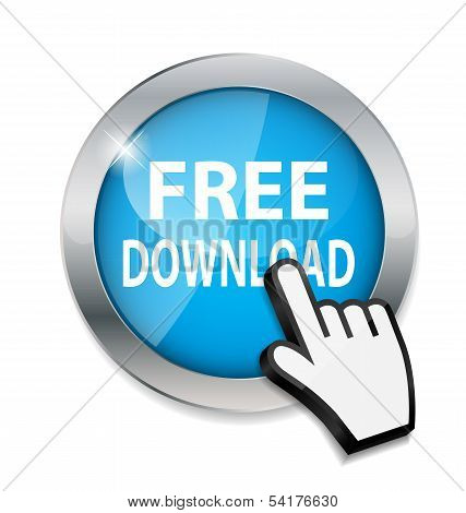 Mouse hand cursor on free download  button vector illustration
