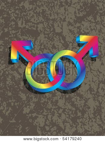 Male Gay Gender 3D Symbols Interlocking Isolated on Grunge Texture Background Illustration poster