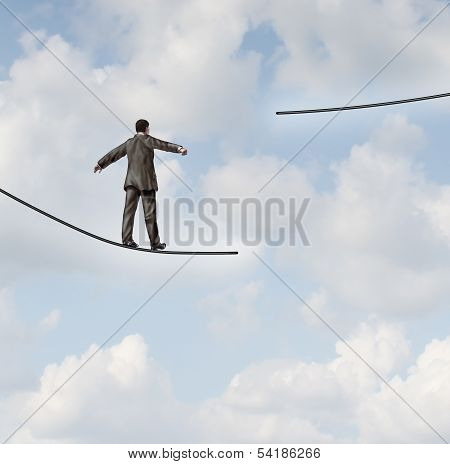 Difficult situation business concept with a businessman walking on a tightrope or high wire metaphor that has been cut and moved higher resulting in increased risk and danger to a planned strategy. poster