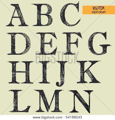 art sketched set of vector character classic fonts, uppercase symbols, part 1