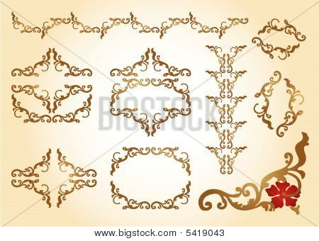 Elements Ornaments Floral Frame Rococo