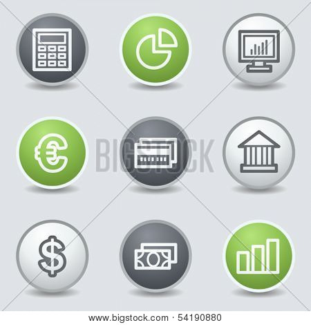 Finance web icons set 1, circle buttons