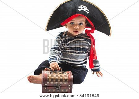African American Child Boy In Costume Pirate On White Background. Baby Halloween Fancy Costume And H
