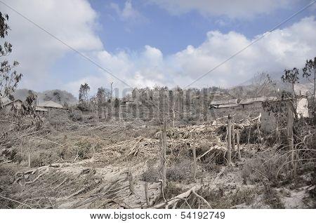 Village Damaged by Natural Disaster on the Slope of Mount Merapi