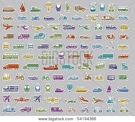104 Transport icons set retro stickers