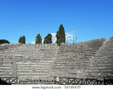 Odeon in the ancient Roman city of Pompeii .